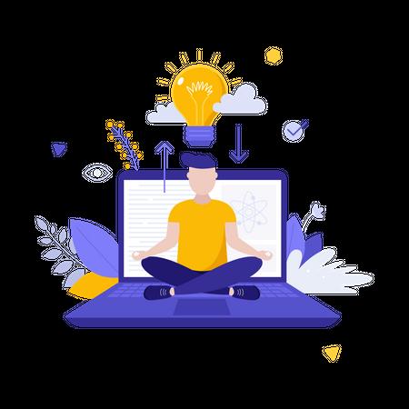 Glowing light bulb and man sitting cross-legged on laptop computer and meditating Illustration