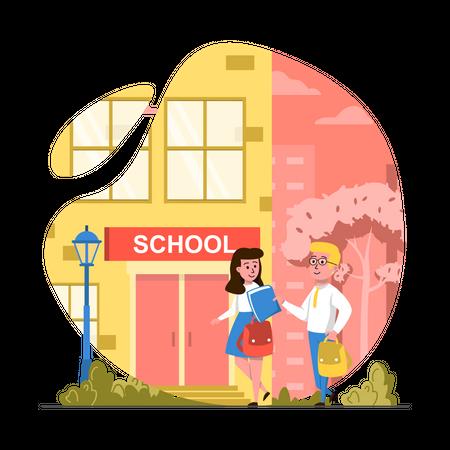 Go to school Illustration