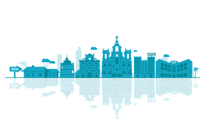 Goa Skyline silhouette with reflections Illustration