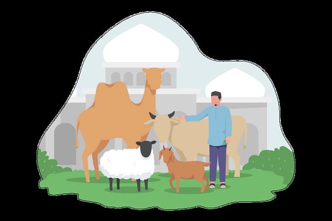 Goat preparing for Eid Al Adha celebration Illustration