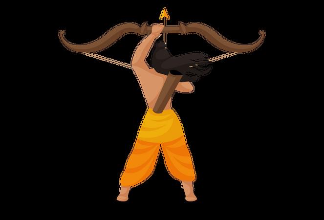 God Ram preparing for fight Illustration
