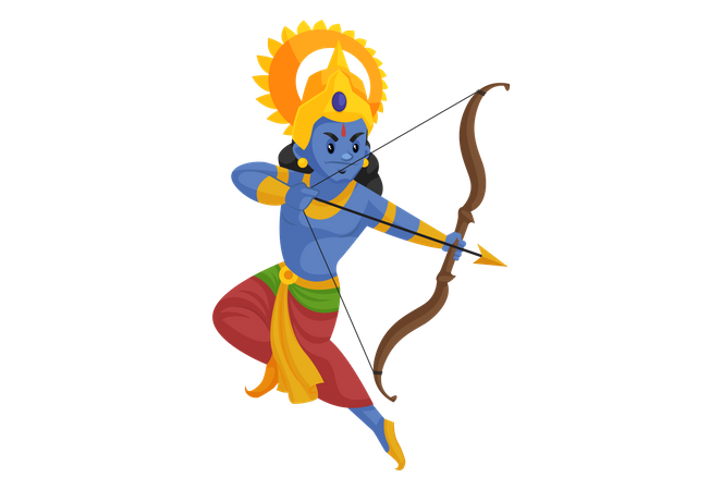 God Rama fighting with bow and arrow Illustration