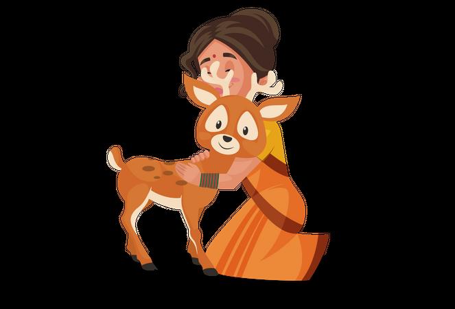 Goddesses Sita hugging deer Illustration