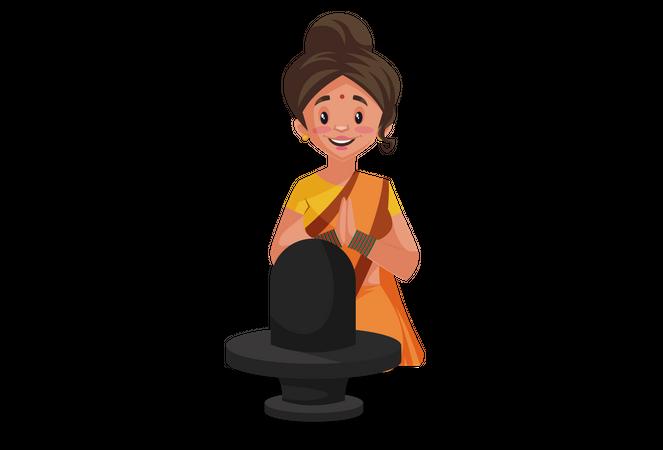 Goddesses Sita praying to God Shiva Illustration