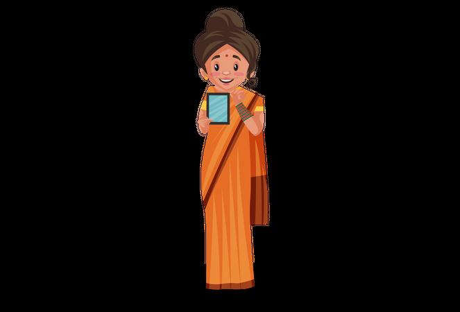 Goddesses Sita showing mobile Illustration