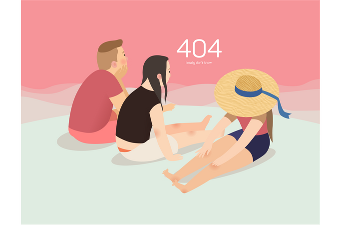 Going for picnic due to error 404 Illustration