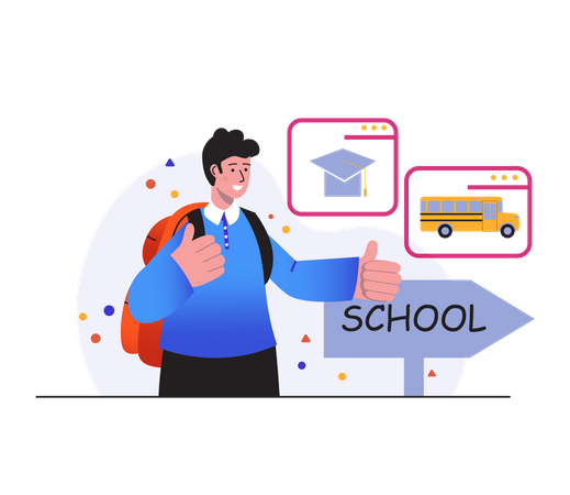 Going to college by bus Illustration