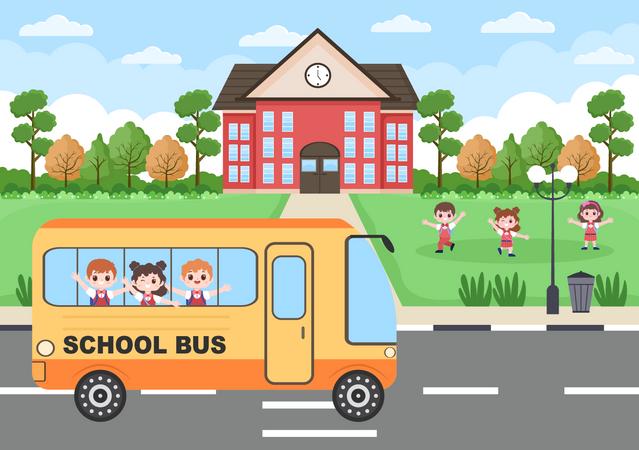 Going to school Illustration