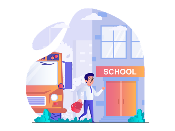 Going to school by bus Illustration