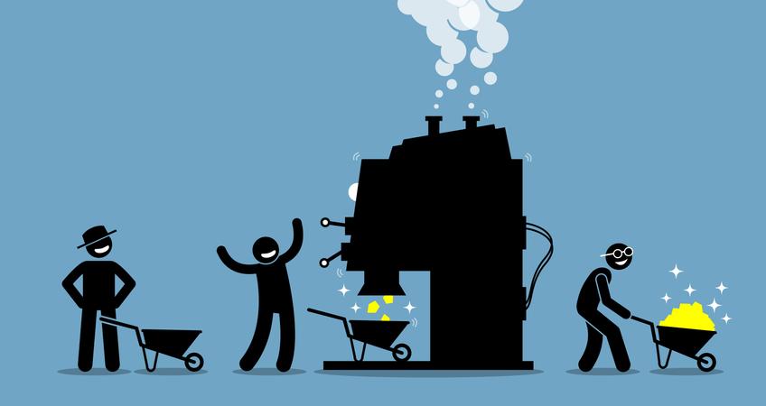 Gold mining machine Illustration