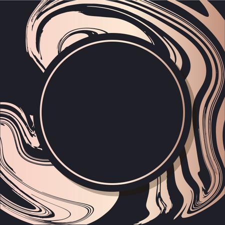 Golden Frame fluid art vector Geometric elegant background cover card Illustration