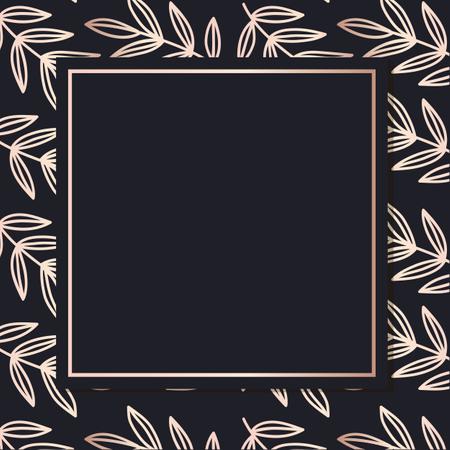Golden Frame pattern art vector leaves elegant background cover card Illustration