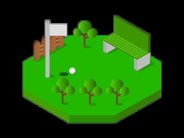 Golf Ground Illustration