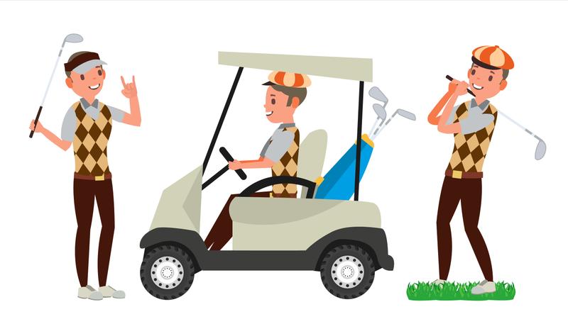 Golf Player Male Illustration