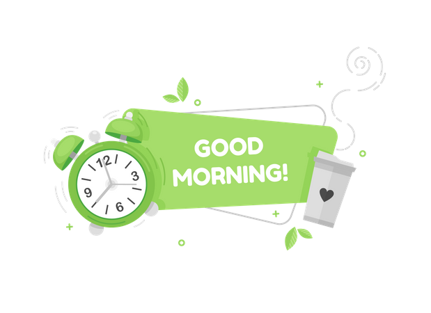 Good morning banner with clock and coffee cup Illustration