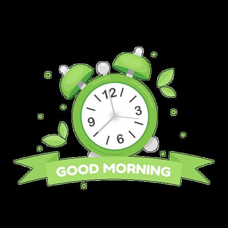 Good morning with alarm clock Illustration