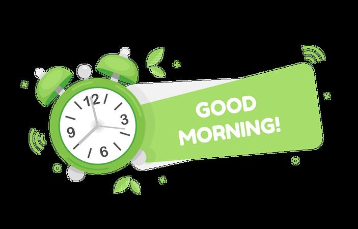 Good morning with clock Illustration