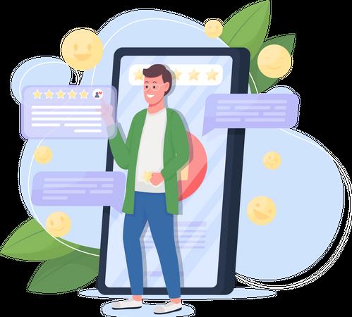 Good service online review Illustration