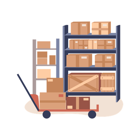 Goods trolley at warehouse Illustration