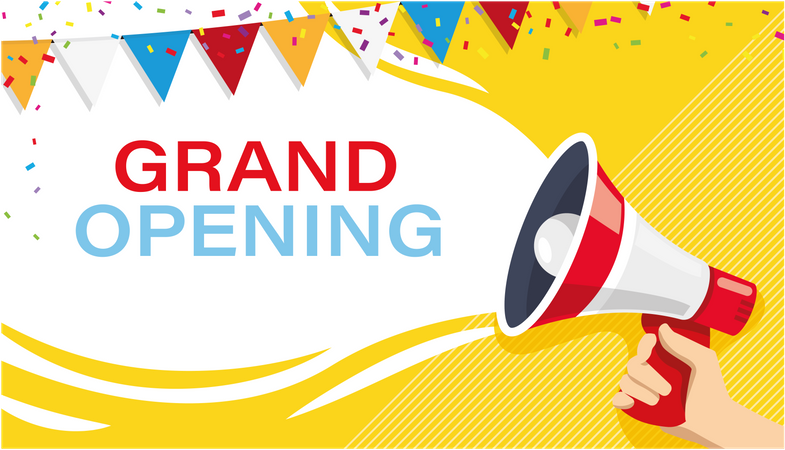 Grand opening banner with Megaphone for Advertisement Illustration