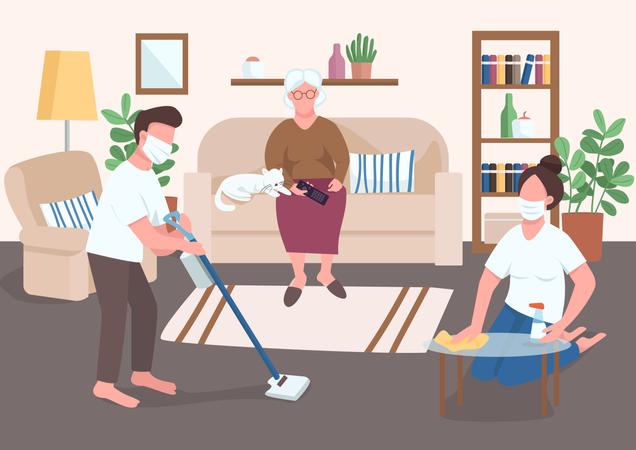 Grandchildren help elder Illustration