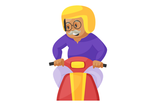 Grandfather Driving Scooter wearing helmet Illustration