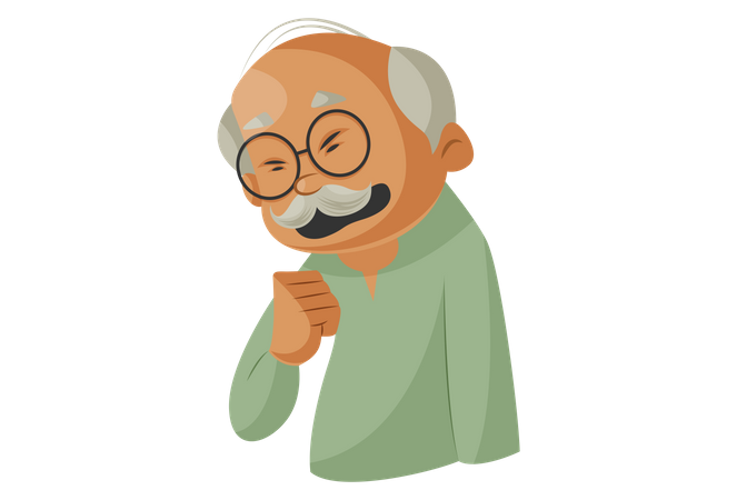 Grandfather have cough Illustration