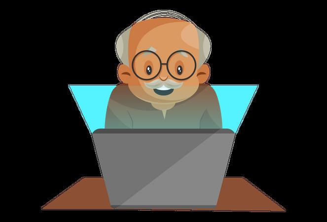 Grandfather Operating Laptop Illustration