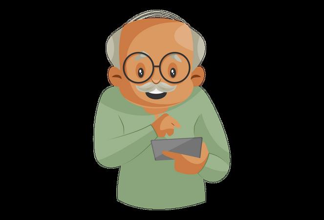 Grandfather Operating Smartphone Illustration