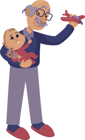 Grandfather playing with baby Illustration