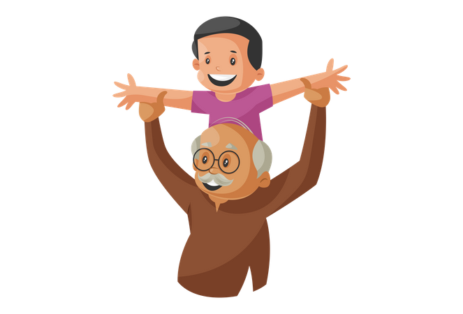 Grandfather Playing with Grandson Illustration