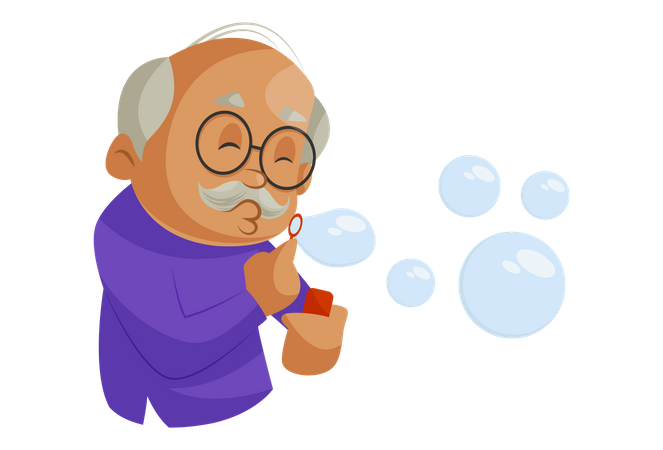 Grandfather playing with soap bubbles Illustration