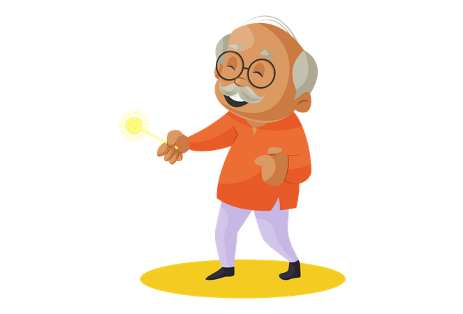 Grandfather Playing with sparkle stick in Diwali Illustration