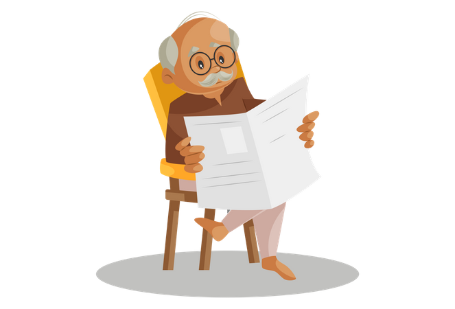Grandfather Reading Newspaper while seating on chair Illustration