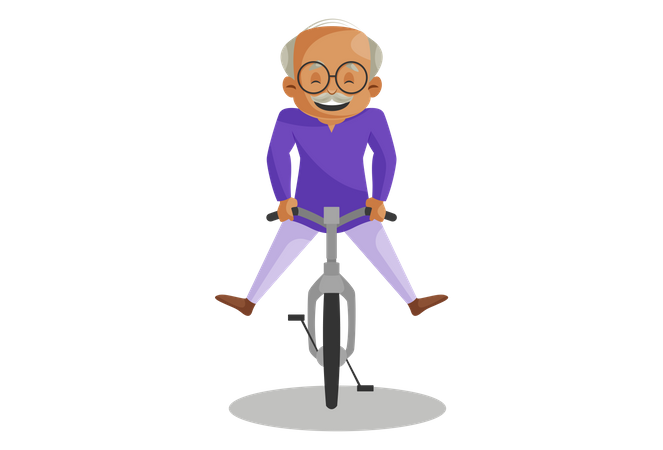 Grandfather Riding Cycle Illustration