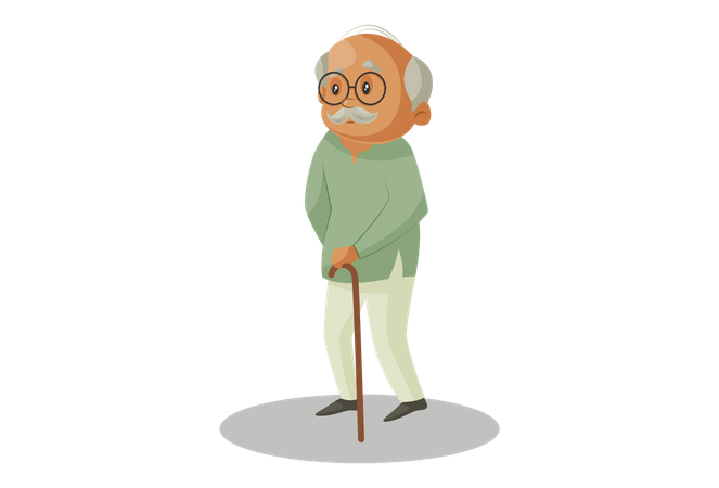 Grandfather standing with Wooden Stick Illustration