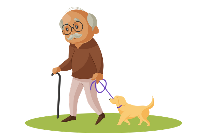 Grandfather walking in park with pet dog Illustration