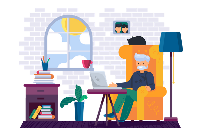 Grandfather working on computer at home Illustration