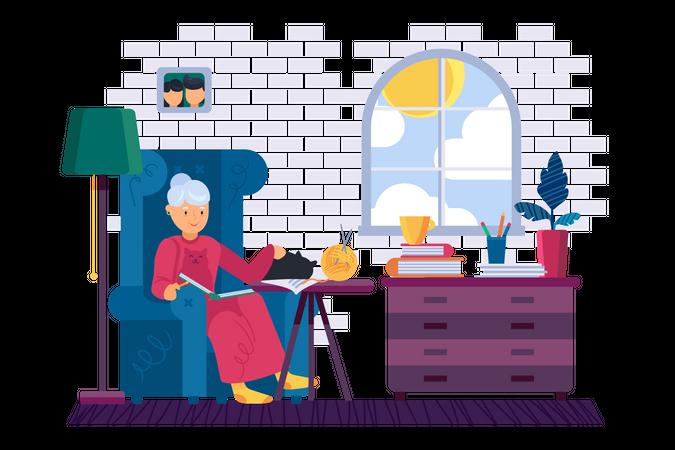 Grandma reading interesting book at home Illustration
