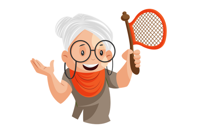 Grandmother holds a fan in her hand Illustration