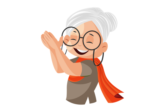 Grandmother is clapping Illustration