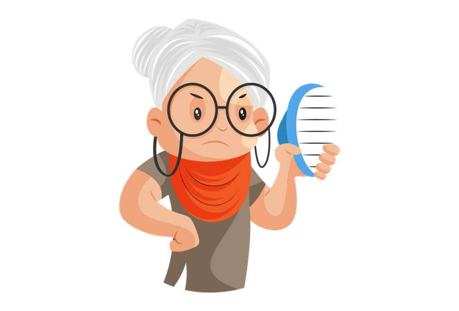 Grandmother is holding comb in hand Illustration