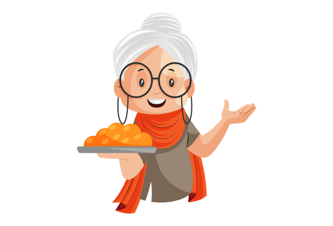 Grandmother is holding Laddu sweet plate in hand Illustration