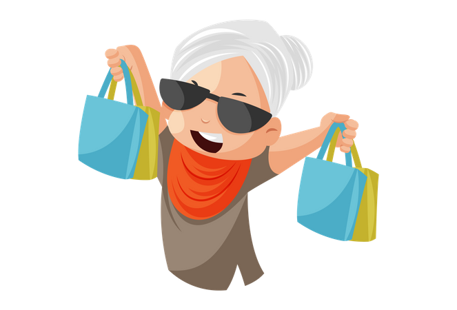Grandmother is holding shopping bags in her hand Illustration