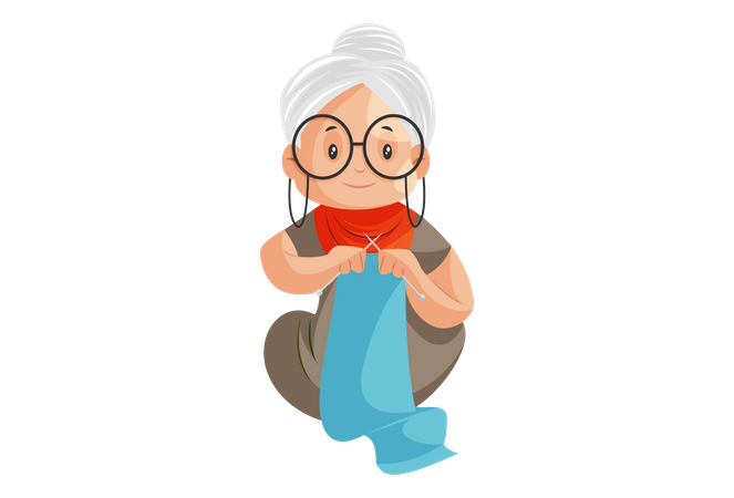 Grandmother is making sweaters by hand Illustration