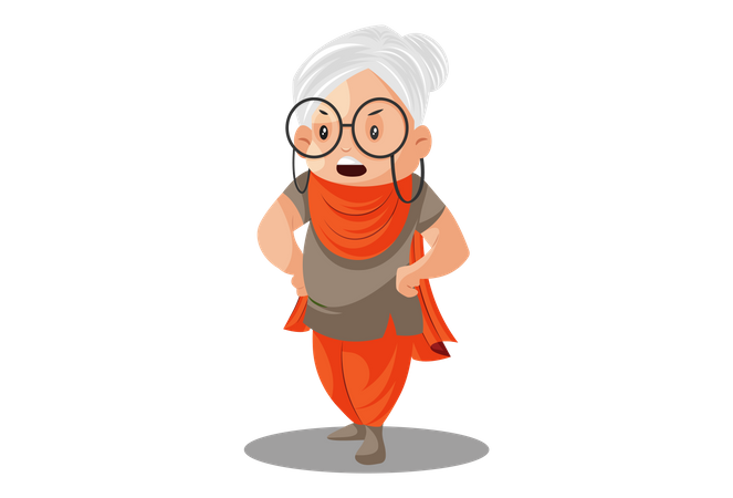 Grandmother is standing in style Illustration
