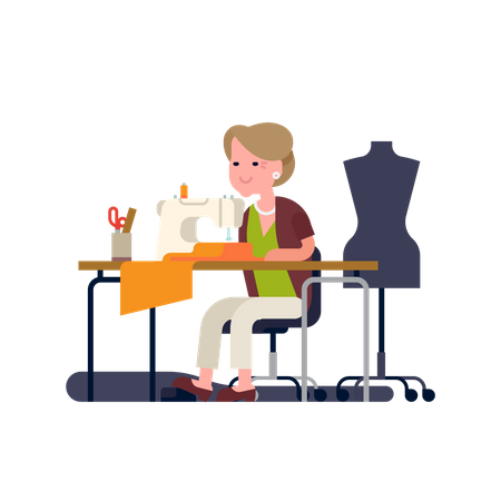 Grandmother sewing Illustration