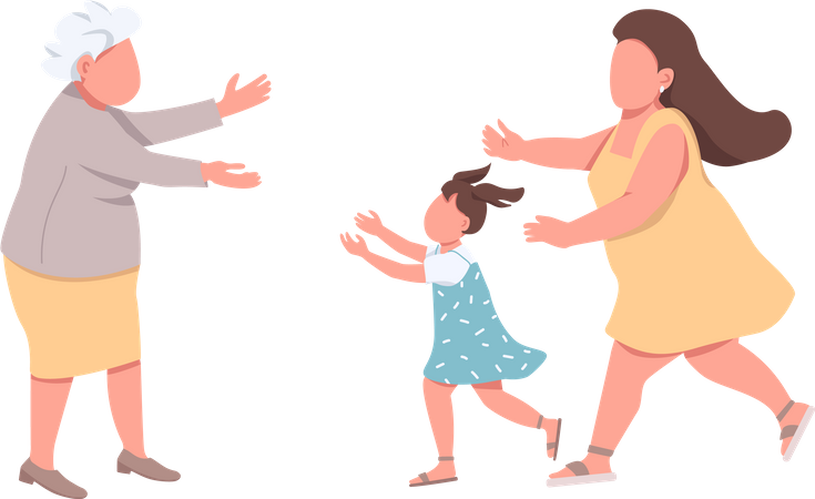 Grandmother welcome relatives Illustration
