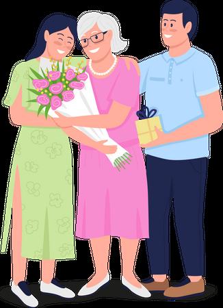 Grandmother with adult grand children Illustration