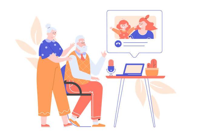 Grandparents chatting on video call with granddaughter Illustration